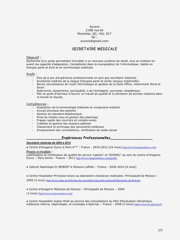 exemple de cv assistante radiologue