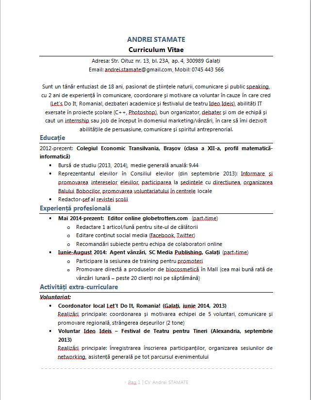 cv exemple ecole de commerce