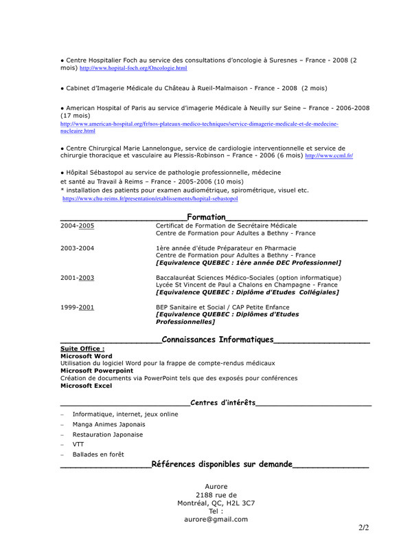exemple de cv secretaire quebec