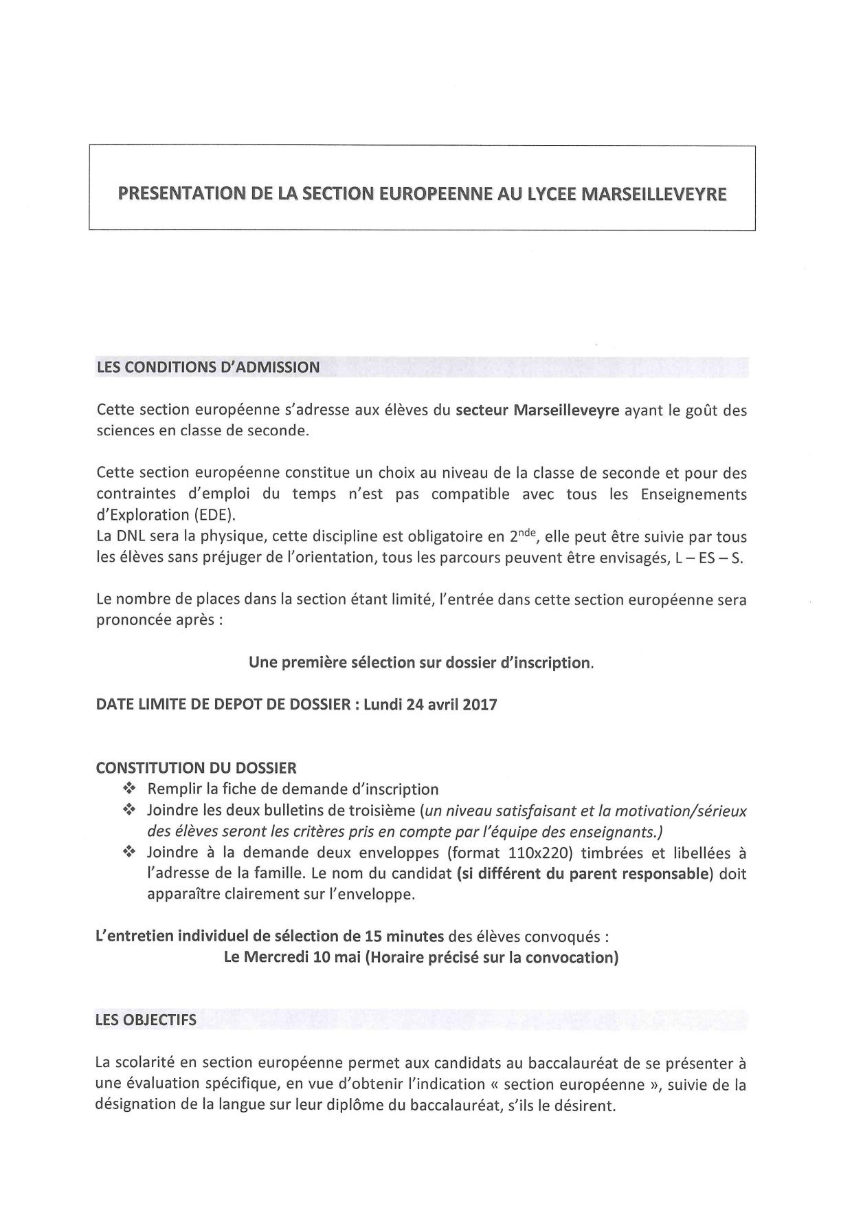lettre de motivation section europ u00e9enne lyc u00e9e