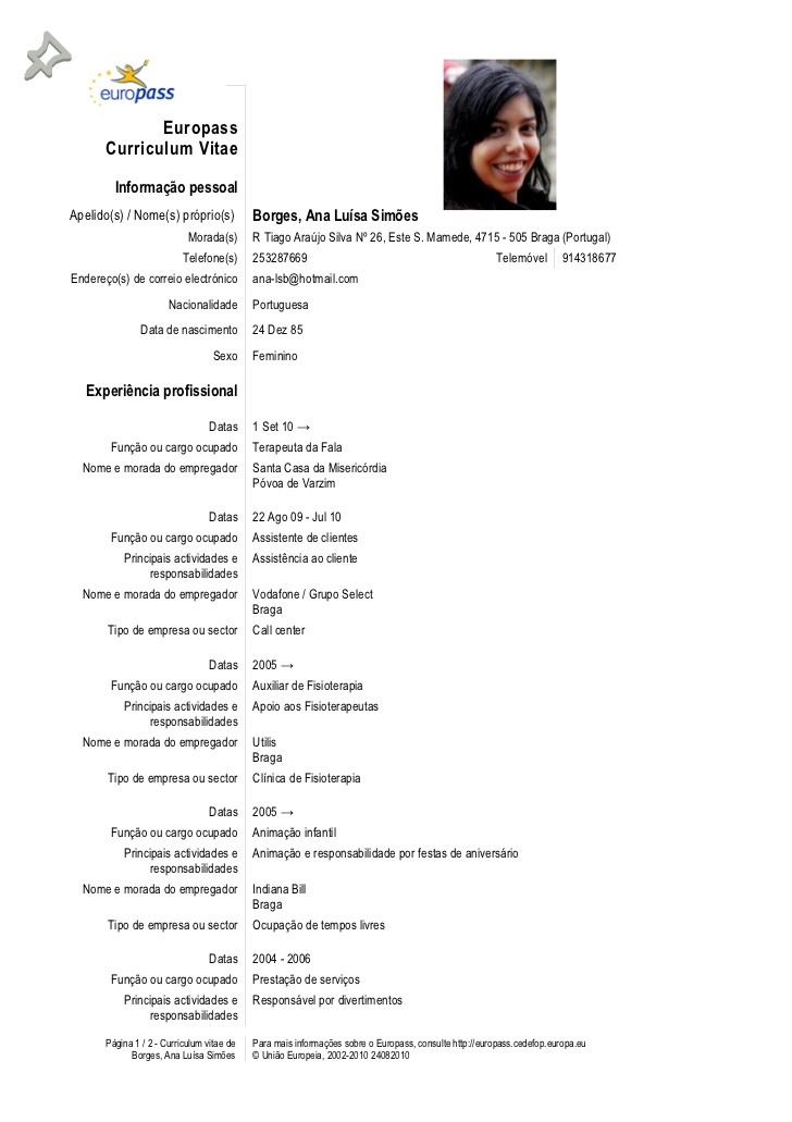 curriculum vitae europass exemplos
