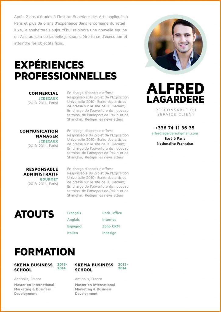 exemple de cv de commercial