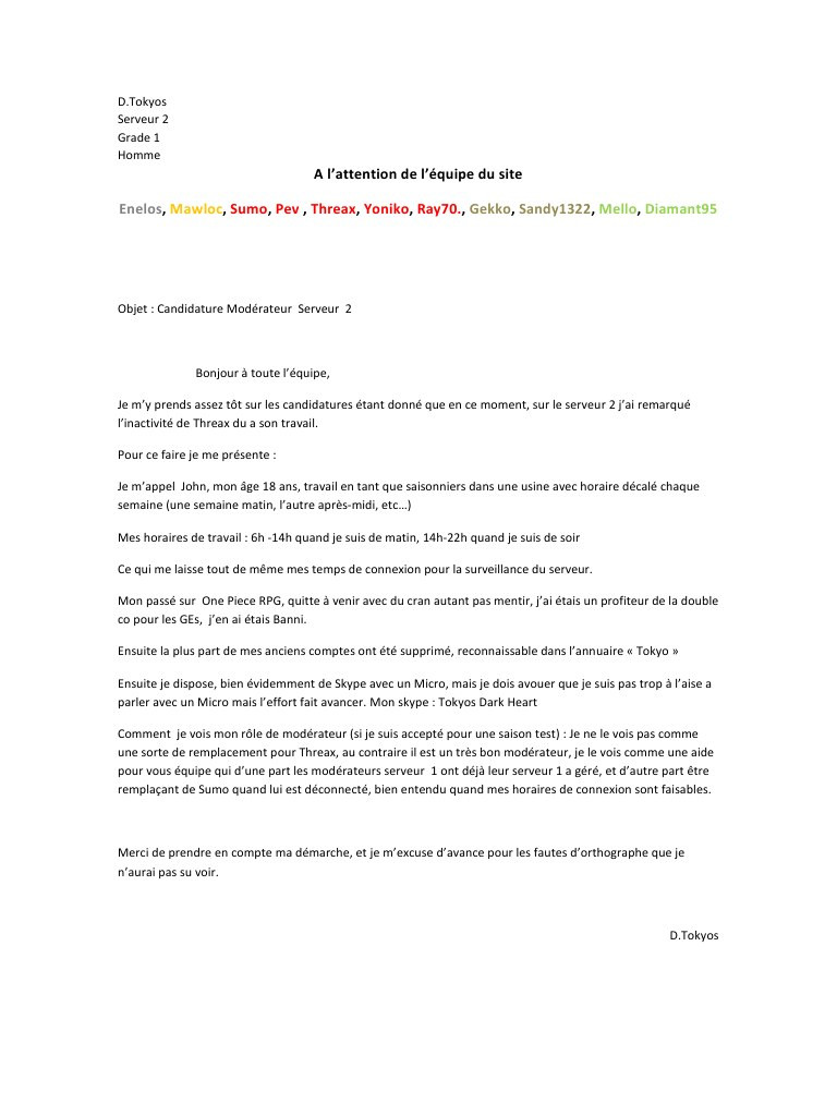 lettre de motivation serveur sans exp u00e9rience