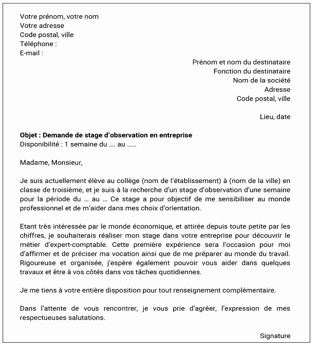 Lettre De Motivation Stage: Lettre De Motivation Stage College 3eme