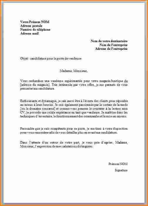 lettre de motivation job d u0026 39  u00c3 u00a9t u00c3 u00a9 vendeuse pret a porter