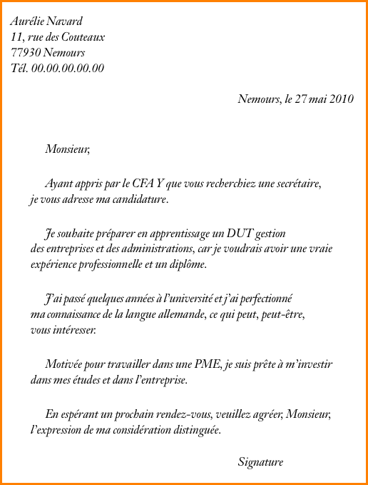 lettre de motivation premier job d  u00e9t u00e9