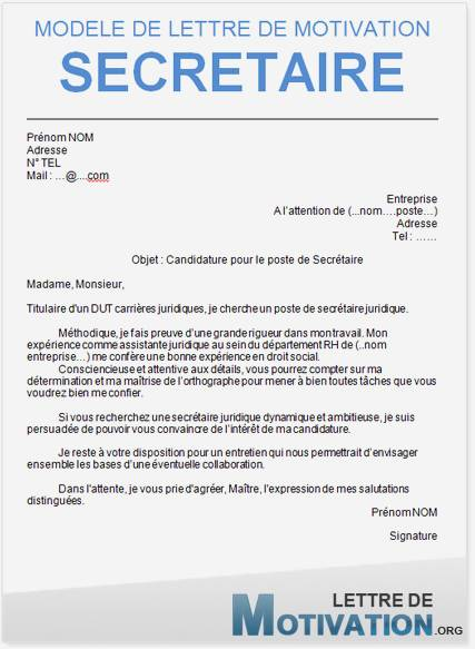 exemple lettre de motivation secr u00e9taire administrative