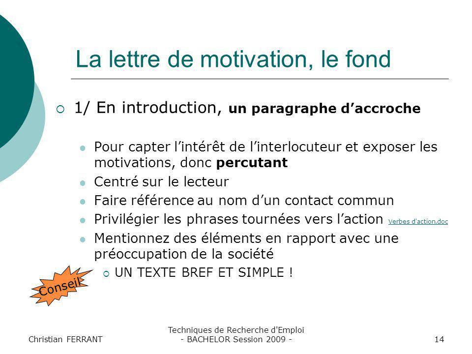 accroche de lettre de motivation