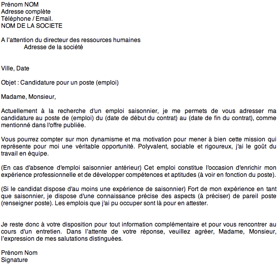 exemple lettre de motivation travail d u0026 39  u00e9t u00e9