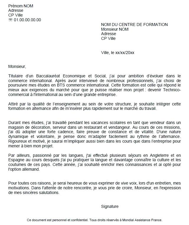 lettre de motivation master management et commerce