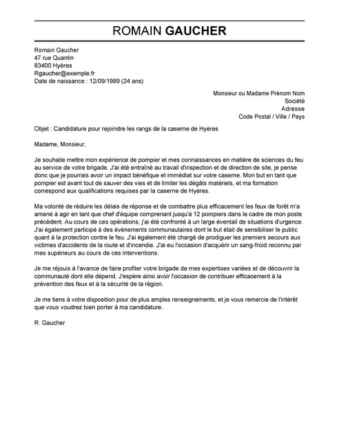 lettre de motivation agent de s u00e9curit u00e9 incendie