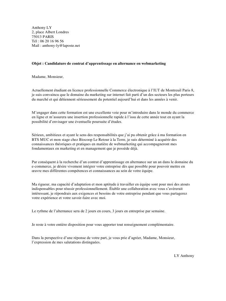 lettre de motivation pour licence en alternance