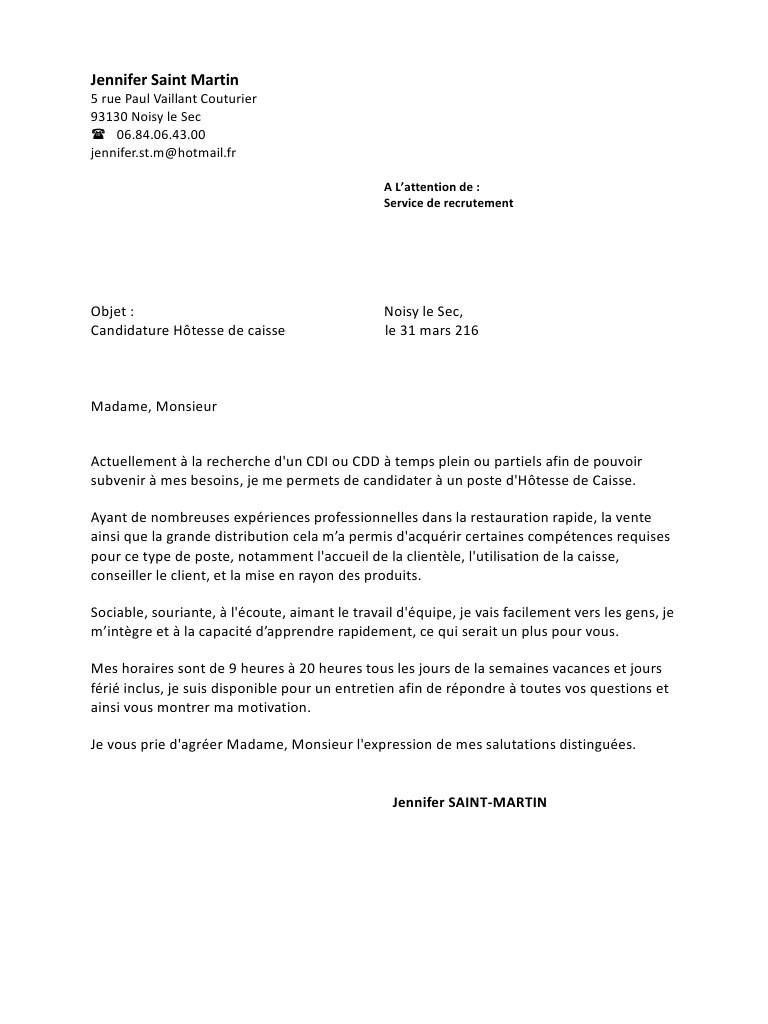 lettre de motivation contrat  u00e9tudiant caissier