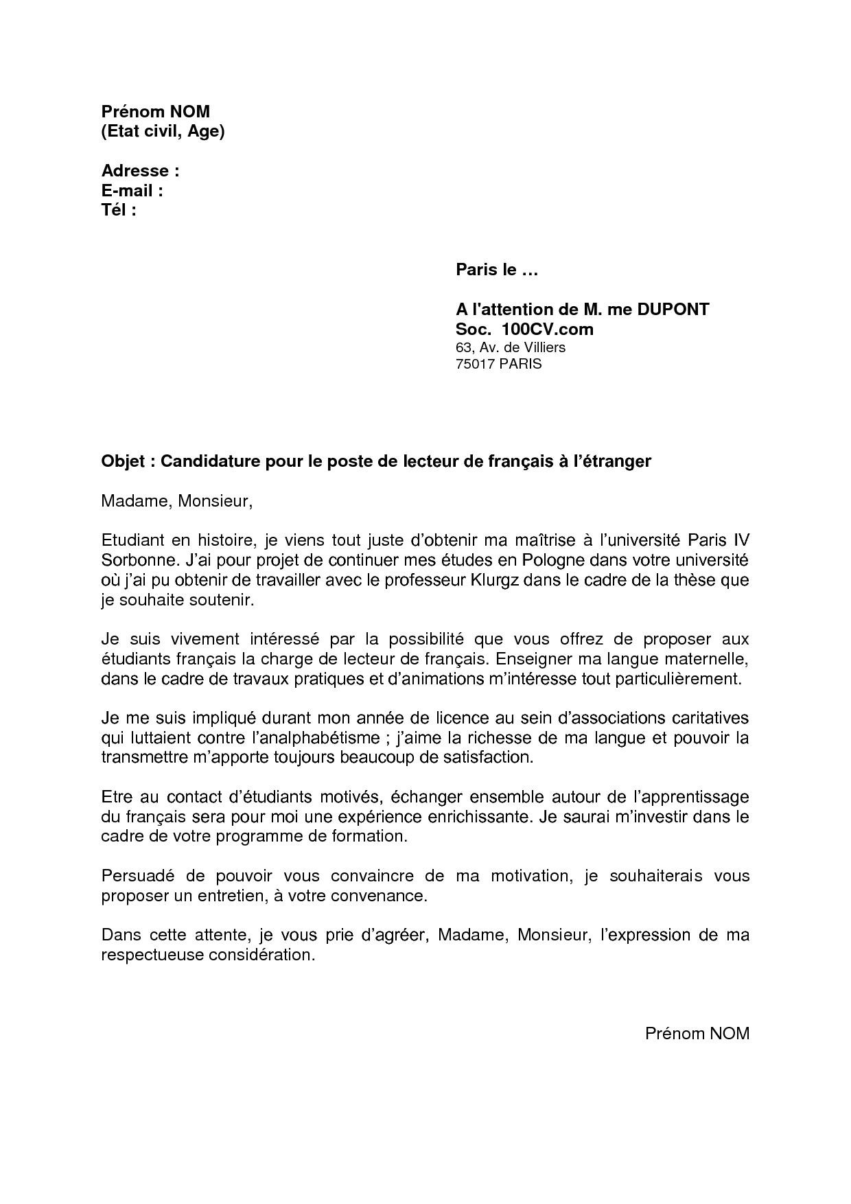 lettre de motivation licence cca