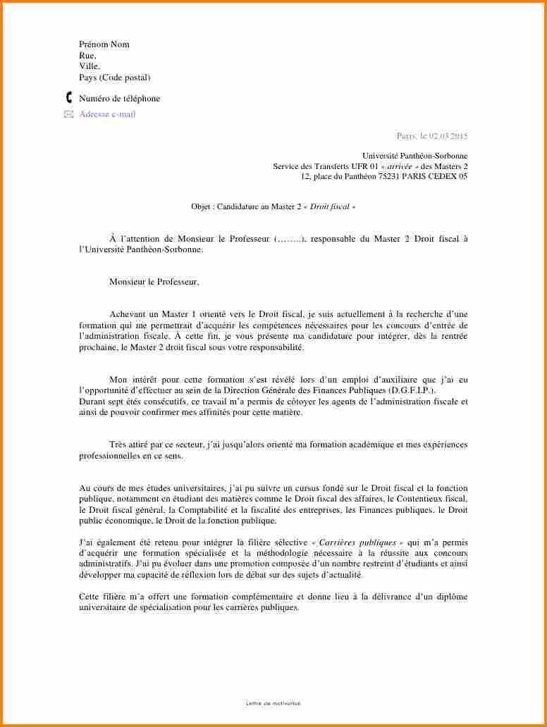 lettre de motivation candidature universit u00e9