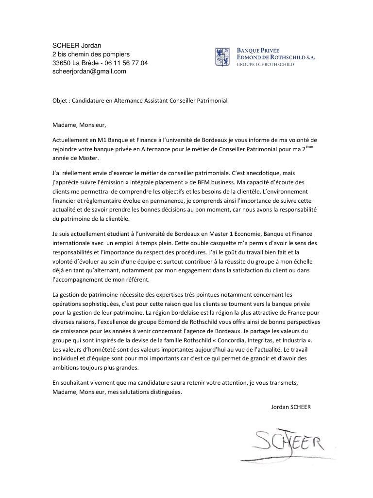 lettre de motivation master 2 finance