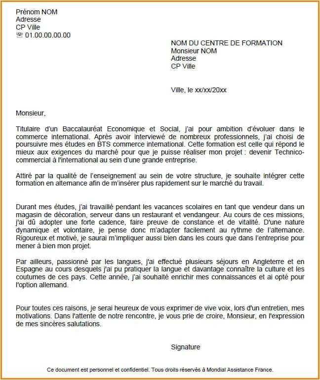 lettre de motivation pour commerce international