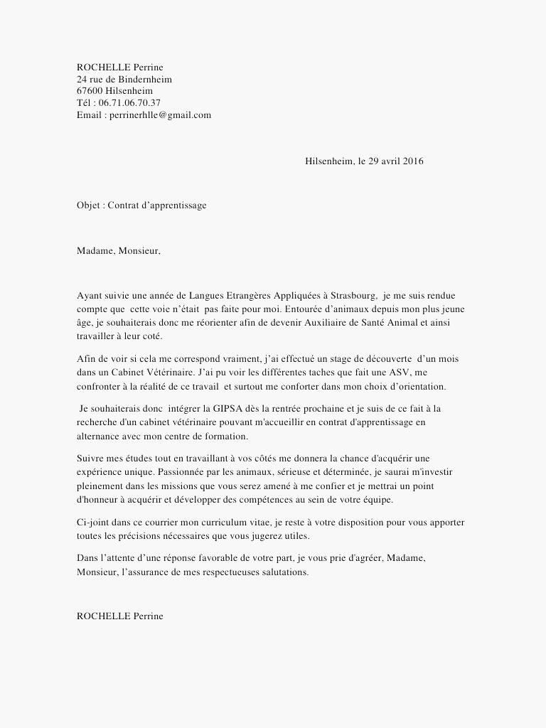 lettre de motivation pour un contrat d u0026 39 apprentissage en