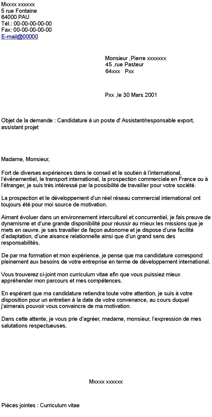lettre de motivation export