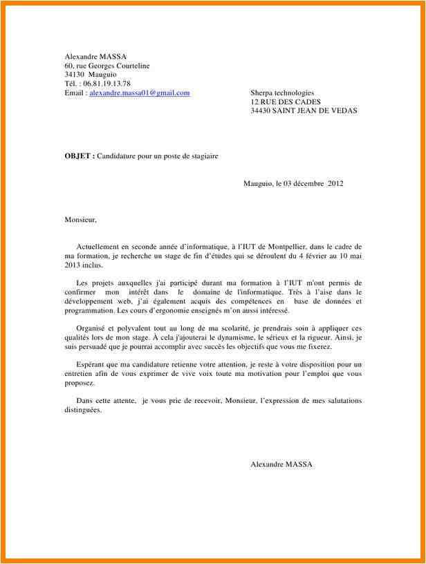 lettre de motivation stage bac pro assp