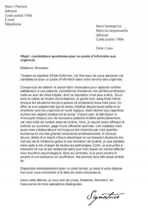 lettre de motivation infirmiere jeune diplom u00e9