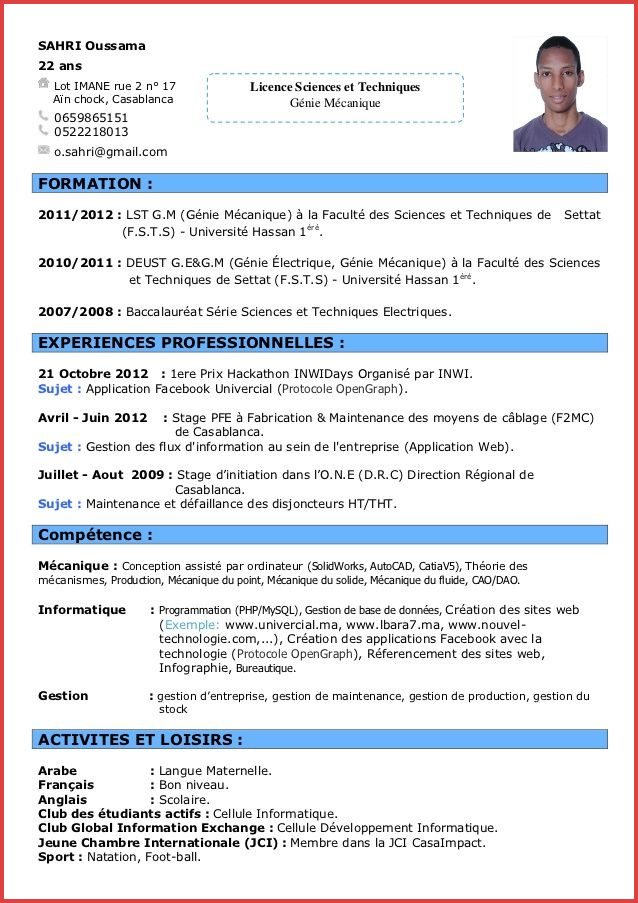 exemple de cv  u00e9tudiant informatique