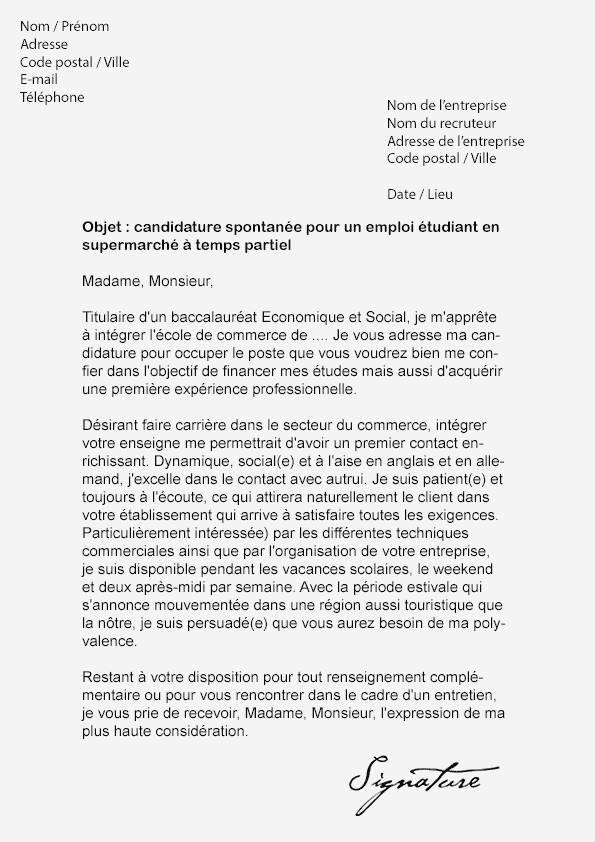 lettre de motivation  u00e9tudiant leclerc