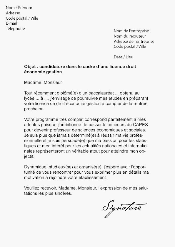 lettre de motivation licence de droit