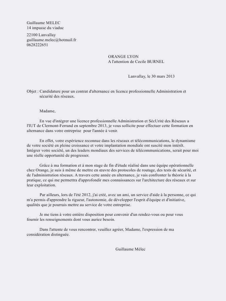 exemple lettre de motivation licence professionnelle