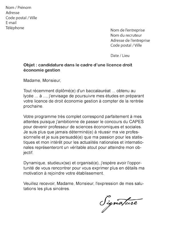 lettre de motivation licence sciences sanitaires et