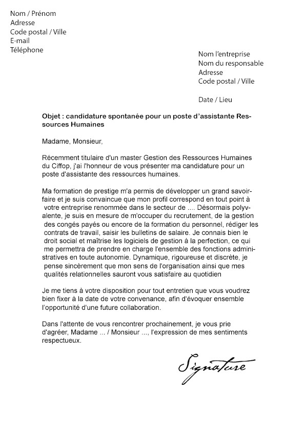 lettre de motivation licence pro management des