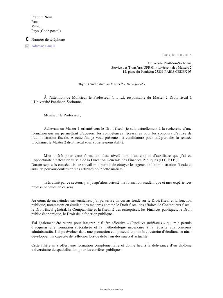 lettre de motivation master 1 management