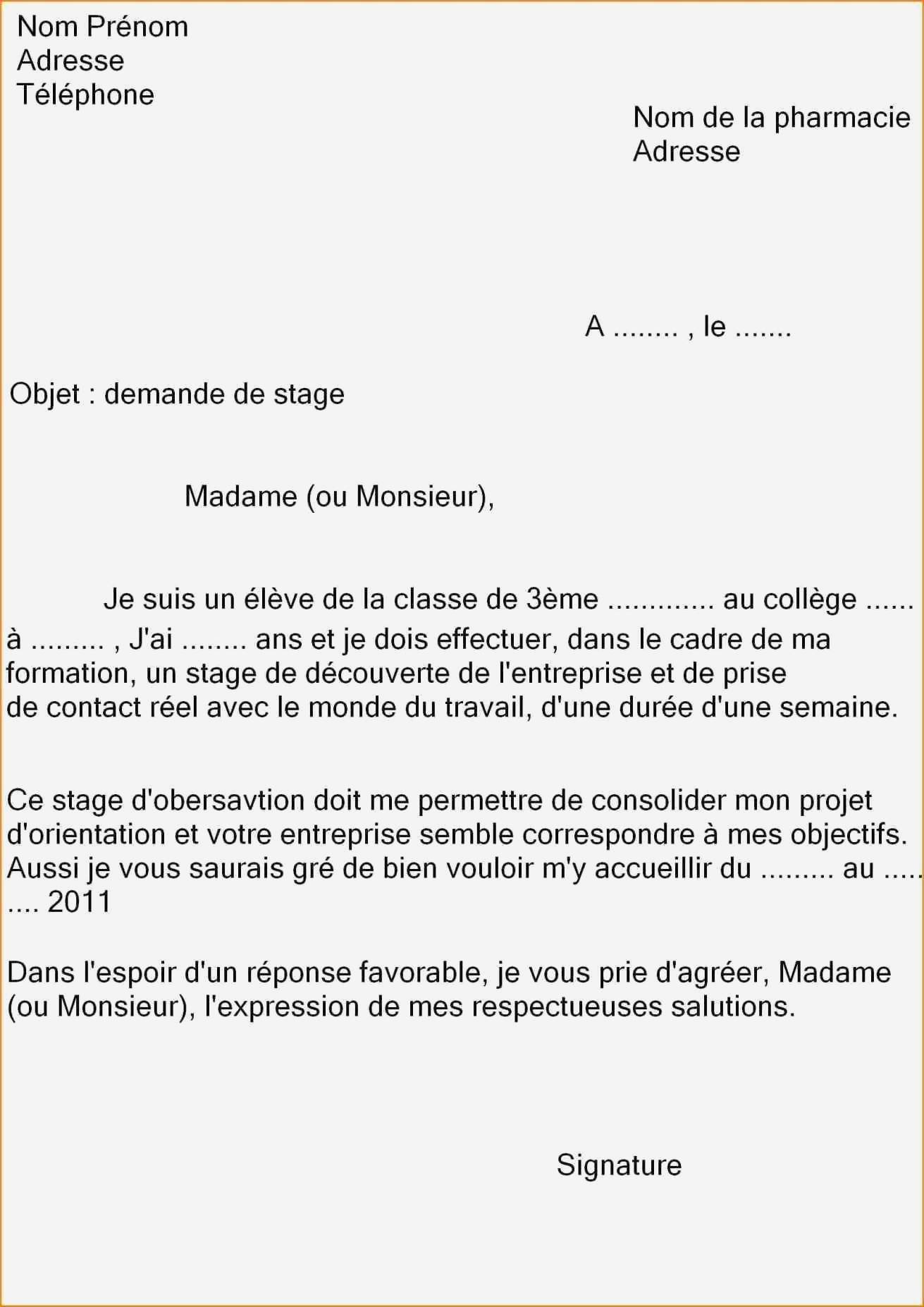 lettre de motivation stage chimie