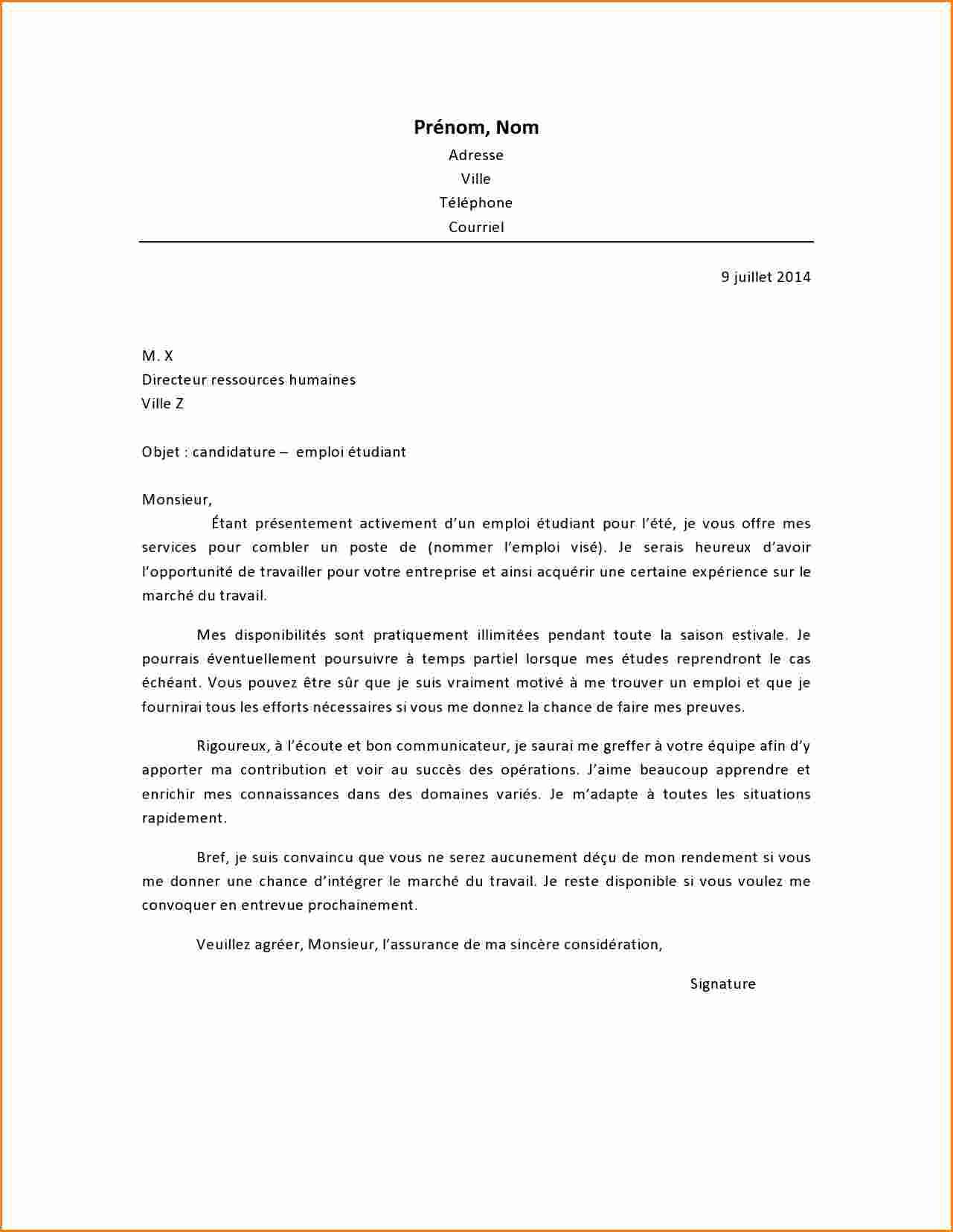 lettre de motivation barman sans experience