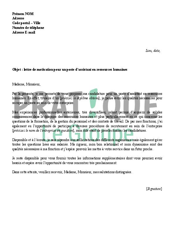 lettre de motivation assistant ressources humaines