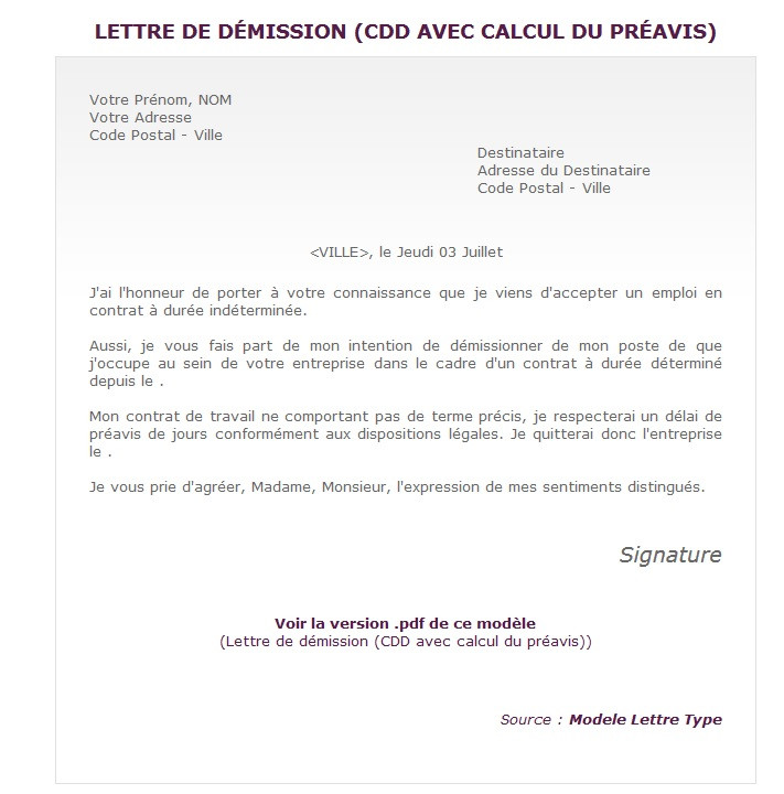 lettre de motivation apres demission