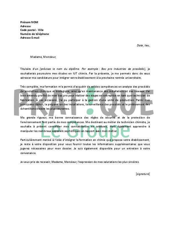 lettre de motivation dut g u00e9nie biologique option