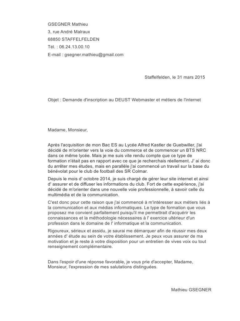 lettre de motivation pour master finance pdf