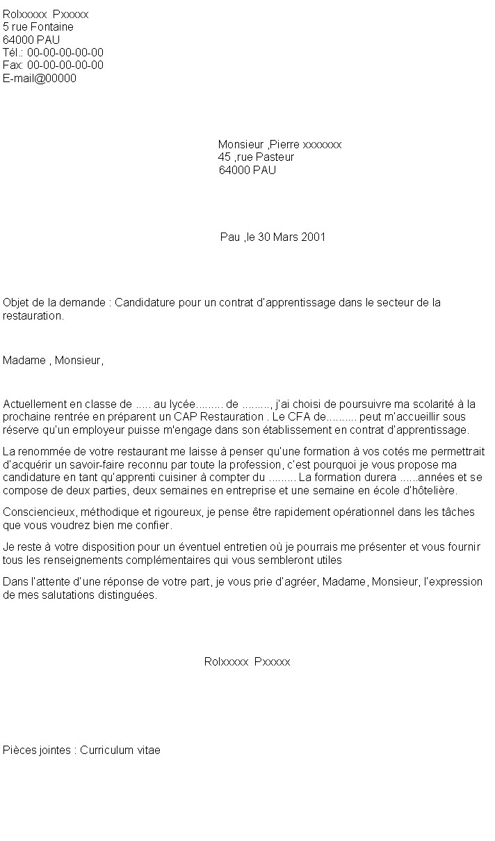 lettre de motivation demande d apprentissage