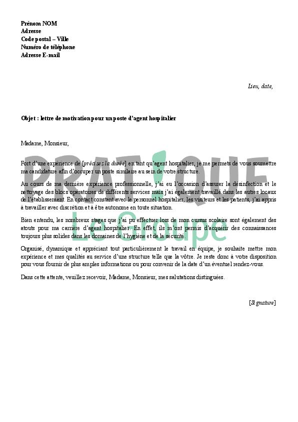 lettre de motivation agent hotelier debutant