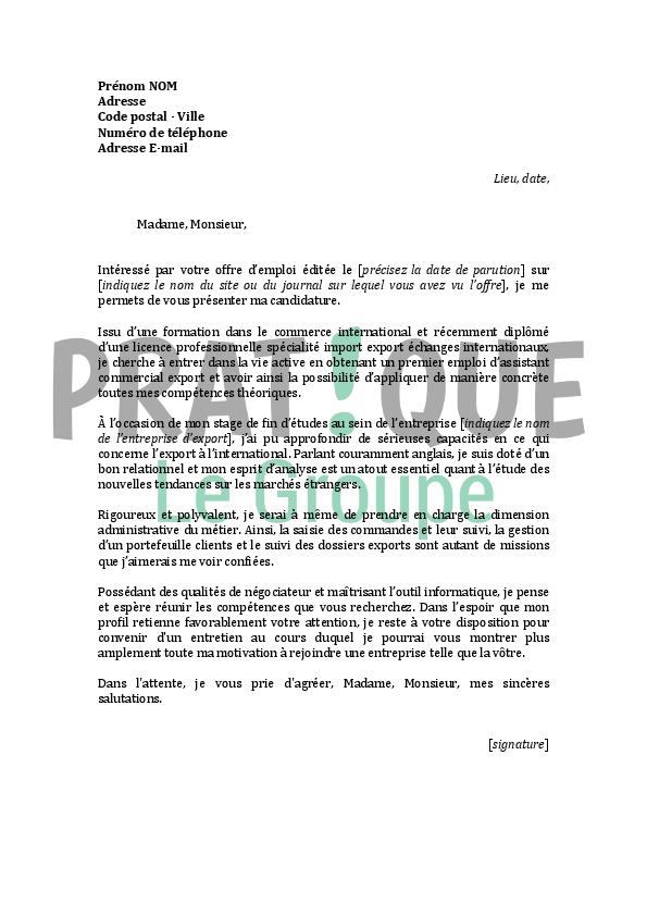 lettre de motivation stage commerce international
