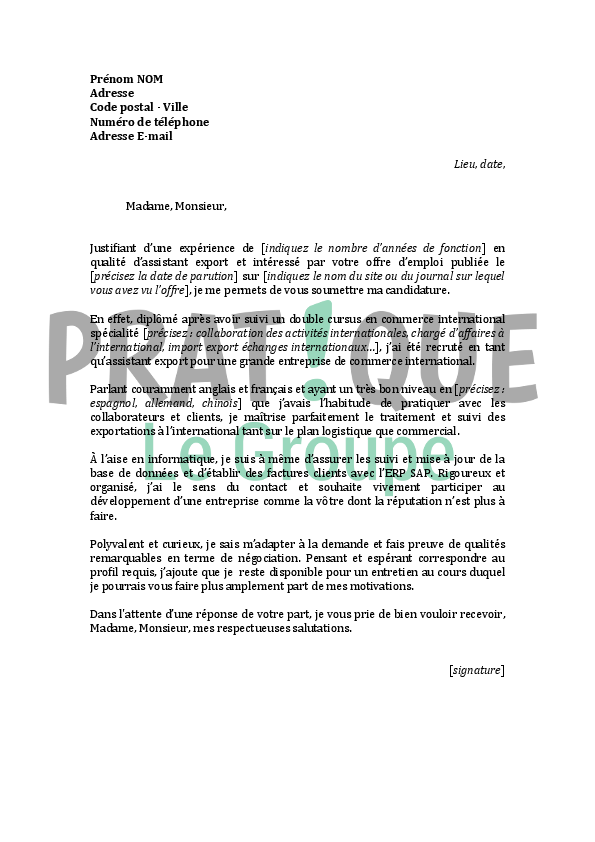lettre de motivation commercial export
