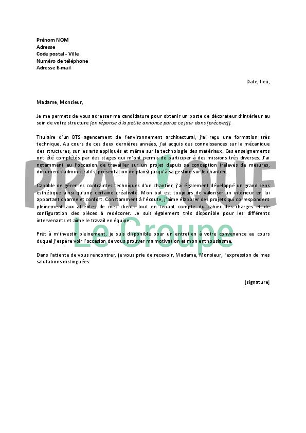 lettre de motivation architecte d u0026 39 int u00e9rieur