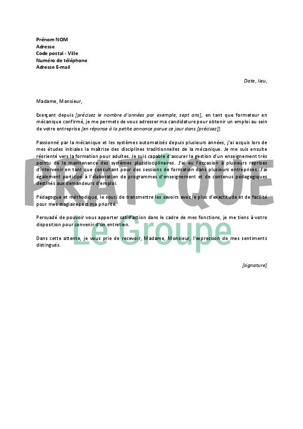 lettre de motivation pour formateur pdf