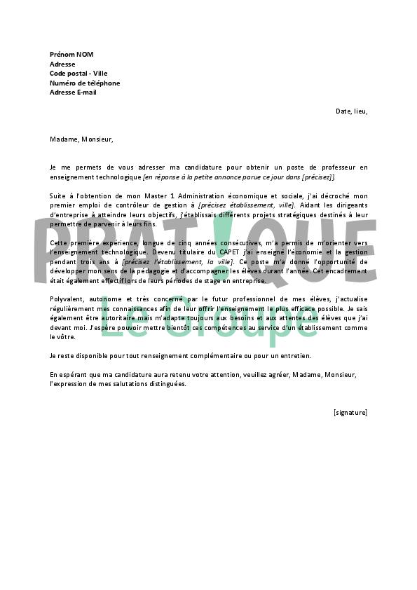 lettre de motivation enseignant contractuel debutant
