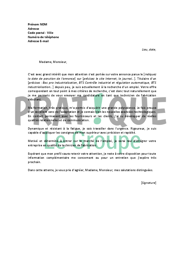 lettre de motivation technicien controle qualit u00e9