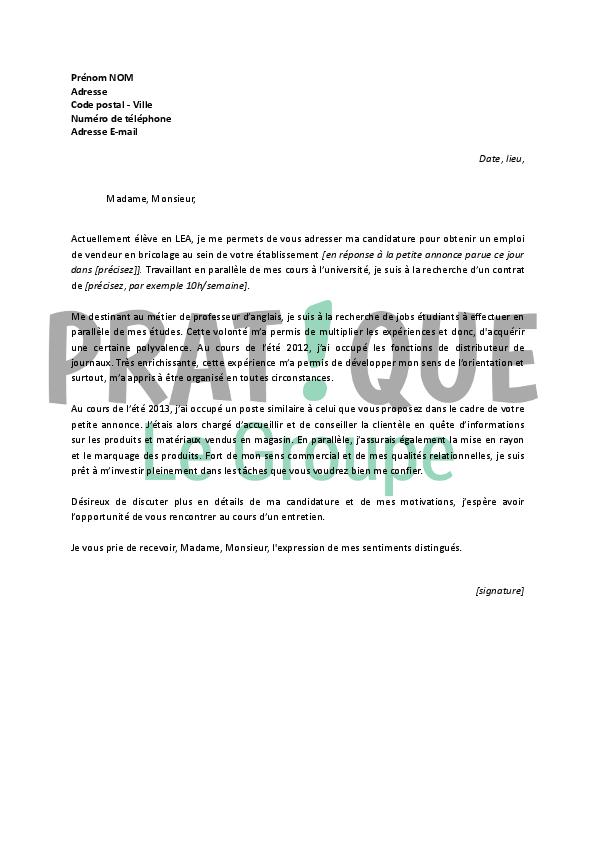 lettre de motivation pour vendeur en magasin