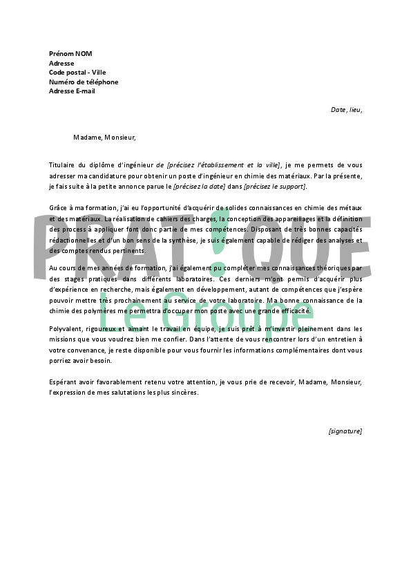 lettre de motivation candidature spontan u00e9e ing u00e9nieur