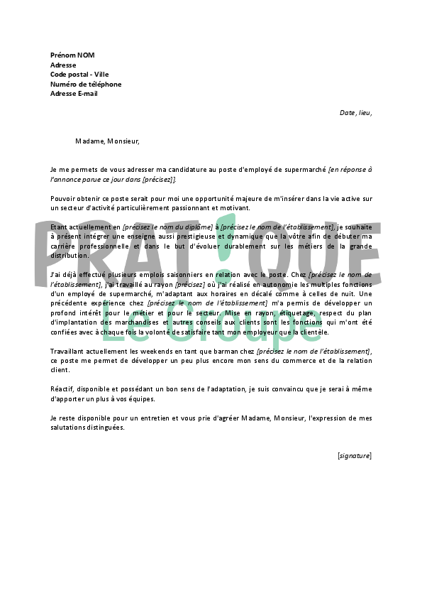 exemple lettre de motivation job d  u00e9t u00e9 supermarch u00e9