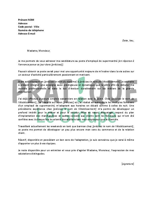lettre de motivation employ u00e9 polyvalent supermarch u00e9